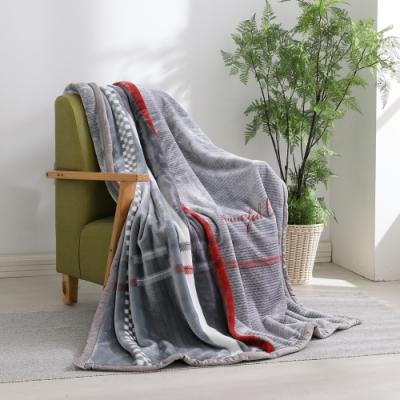 LAMINA 法蘭絨加厚雙面極暖細柔雲毯-大格紋灰