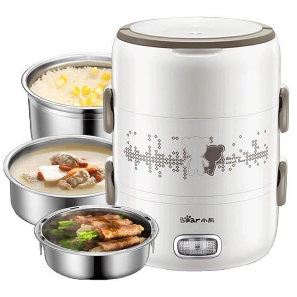 電熱飯盒上班族三層大容量可插電保溫加熱蒸煮便攜飯蒸器 【母親節優惠】