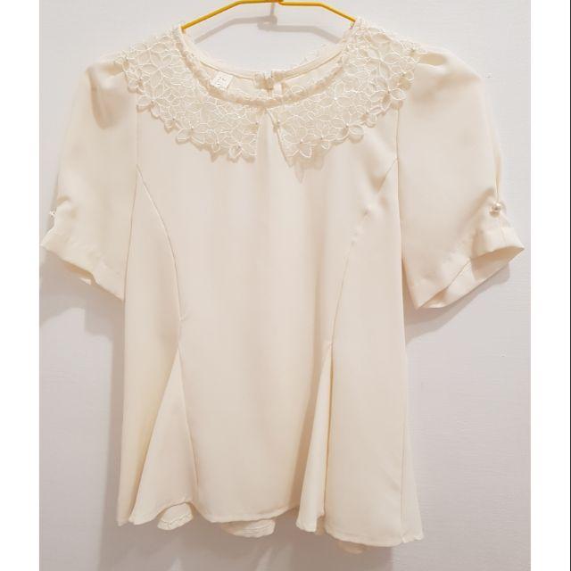 【二手】米白色氣質短上衣