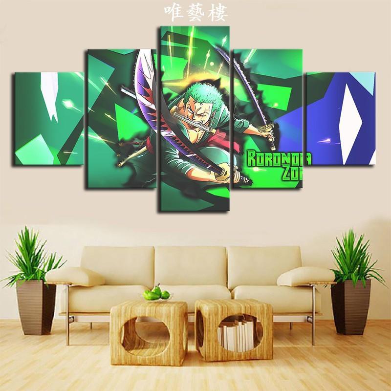 唯藝樓海賊王 航海王 草帽海賊團 綠藻頭 索隆 高清動漫壁畫 海賊獵人 罗罗诺亚·索隆卡通裝飾畫 房間裝飾