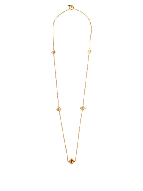 Loewe - Anagram-charm Metal Necklace - Womens - Gold
