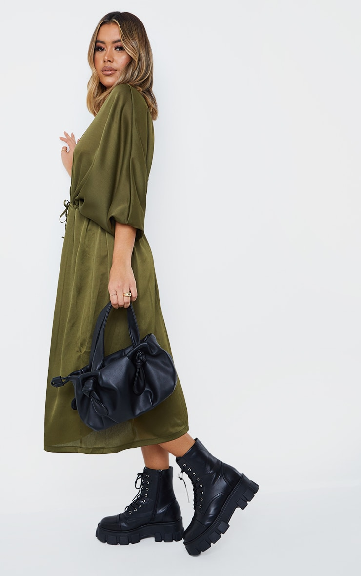 Khaki Tie Waist Detail Batwing Sleeve Midi Dress