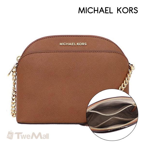 MICHAEL KORS MK防刮皮革鏈條貝殼斜背包(駝)