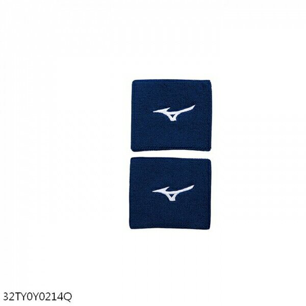 Mizuno [32TY0Y0214Q] 護腕 毛巾 吸汗 運動 慢跑 打球 訓練 W8*L7cm 2入 藍白