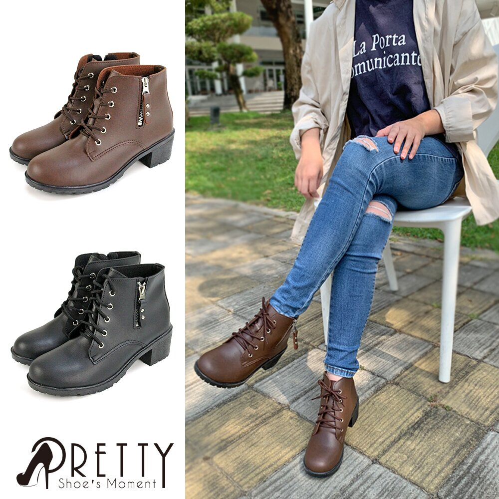 【Pretty】個性綁帶中粗跟短靴BA-27020