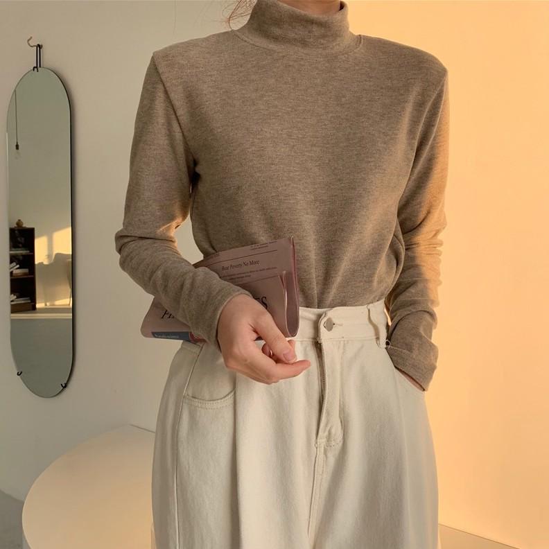 韩版半高领纯色加绒加厚打底衫長袖T恤
