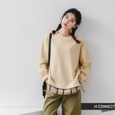 H:CONNECT 韓國品牌 女裝 -假兩件拼接綁結大學T-駝色/灰色