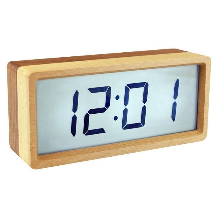 鬧鐘木頭電子兒童鬧鐘學生用靜音鬧鈴床頭夜光創意智慧簡約北歐風格