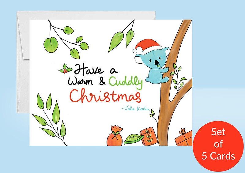 聖誕卡片 無尾熊聖誕卡 5張賀卡