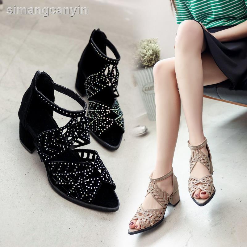 ∈☋新款夏粗跟絨面羅馬涼鞋女水鉆鏤空魚嘴鞋拉鏈中跟高跟涼鞋大碼