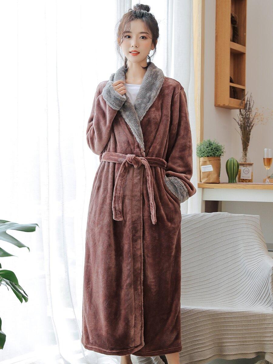 女士加厚法蘭絨睡袍秋冬季長袖高檔浴袍珊瑚絨睡衣女可愛韓版長袍  雙十一狂歡UPup➹
