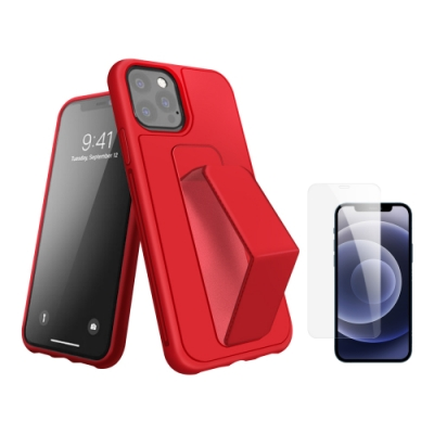 [買殼送保護貼] iPhone 12 Pro Max 紅色支架手機殼 (iPhone12ProMax保護貼 iPhone12ProMax手機殼 )