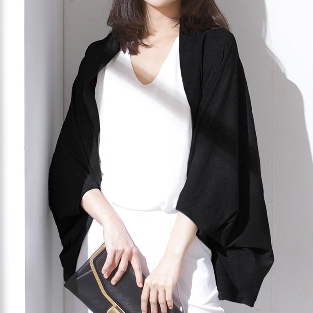 外套 EXCLIMARK 顯瘦壓紋薄外套-黑色