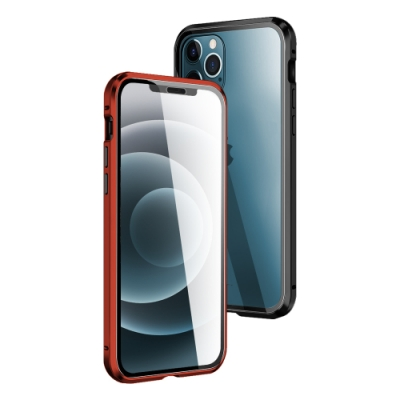 iPhone 12 Pro 金屬 透明 全包覆 磁吸雙面玻璃殼 手機殼 紅色 (iPhone12Pro手機殼 iPhone12Pro保護殼 )