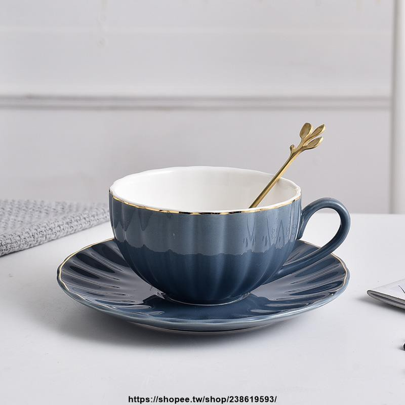 華麗歐式陶瓷咖啡杯杯碟套裝馬克杯咖啡廳杯子配勺配碟情侶水杯