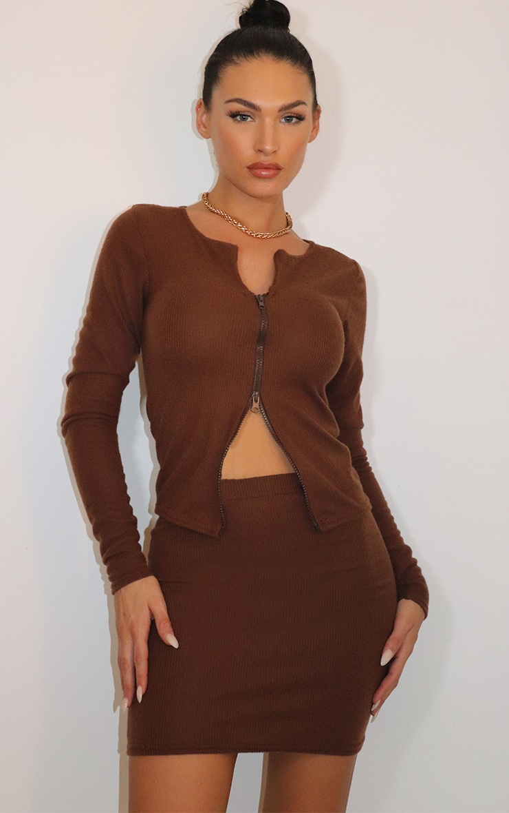 Chocolate Brown Soft Brushed Rib Double Zip Front Long Sleeve Top