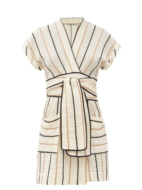 Three Graces London - Aurora Striped Cotton Mini Dress - Womens - Yellow Stripe