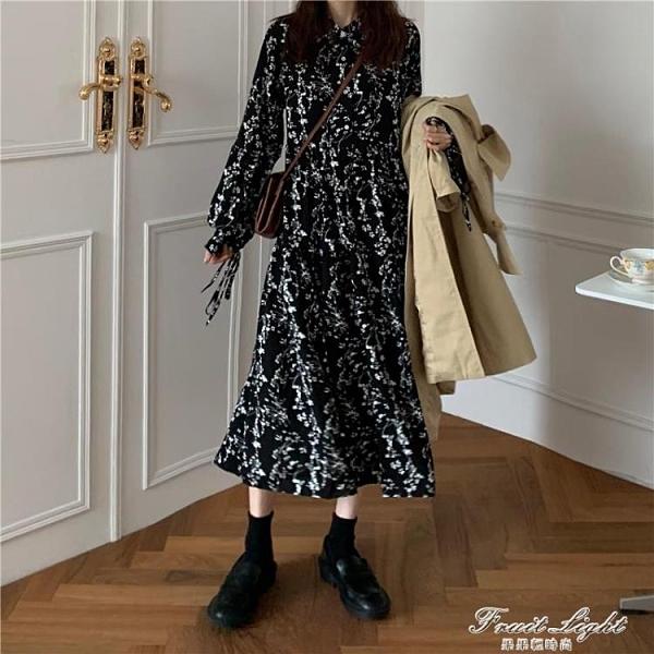 黑色氣質碎花裙洋裝女裝秋季2020新款復古長裙顯瘦系帶長袖裙子 果果輕時尚