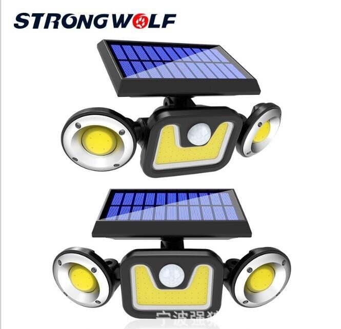 太陽能戶外燈 太陽能壁燈 LED三頭可旋轉戶外防水人體感應庭院路燈太陽能燈 【交換禮物】