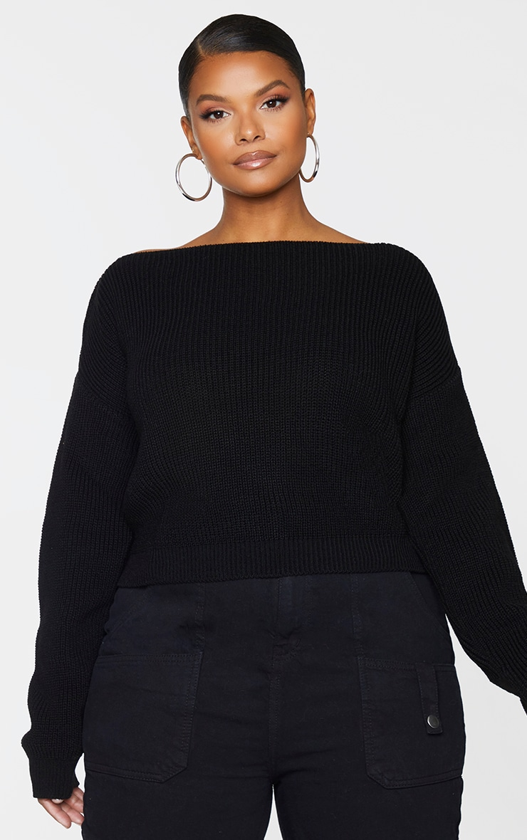 Plus Black Knitted Slash Neck Crop Jumper