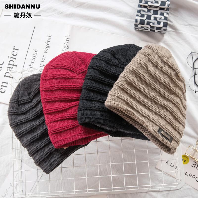 男士帽子 4色入 冬季加絨加厚保暖毛線帽 時尚潮流百搭針織帽 學生青少年帽子 現貨 男生配件