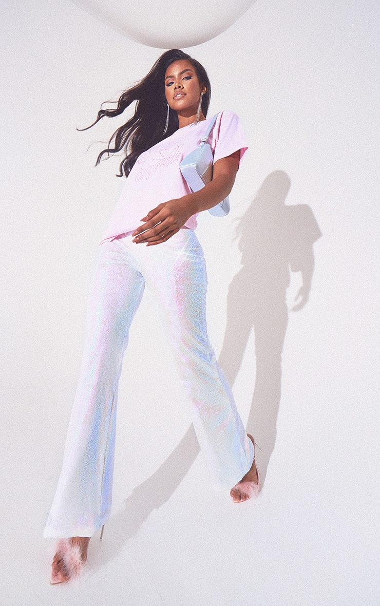 White Sequin Wide Leg Pants