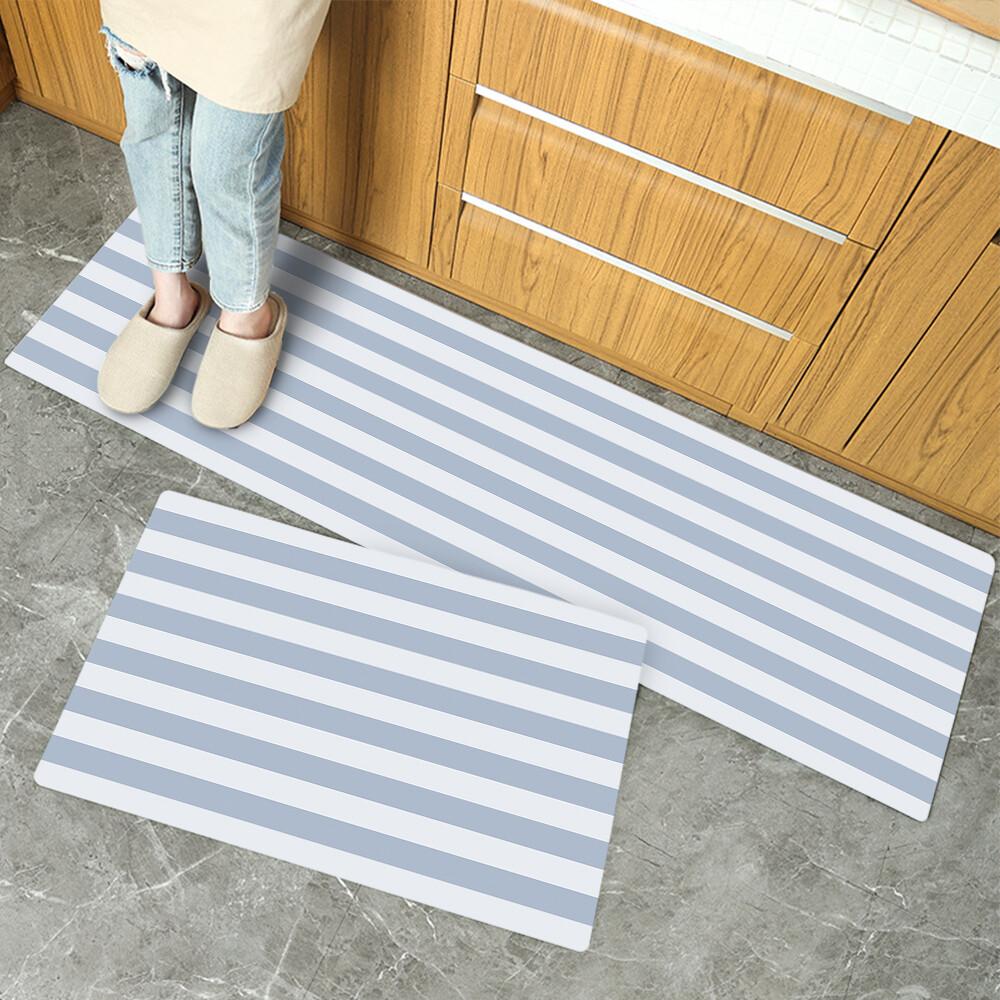 波爾卡條紋-長款120cm-慢回彈防油防水廚房皮革地墊