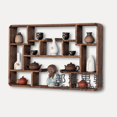 壁掛茶具架 博古架實木中式茶具架子茶壺展示架多寶閣置物架小型擺件中式古典SUPER 全館特惠9折