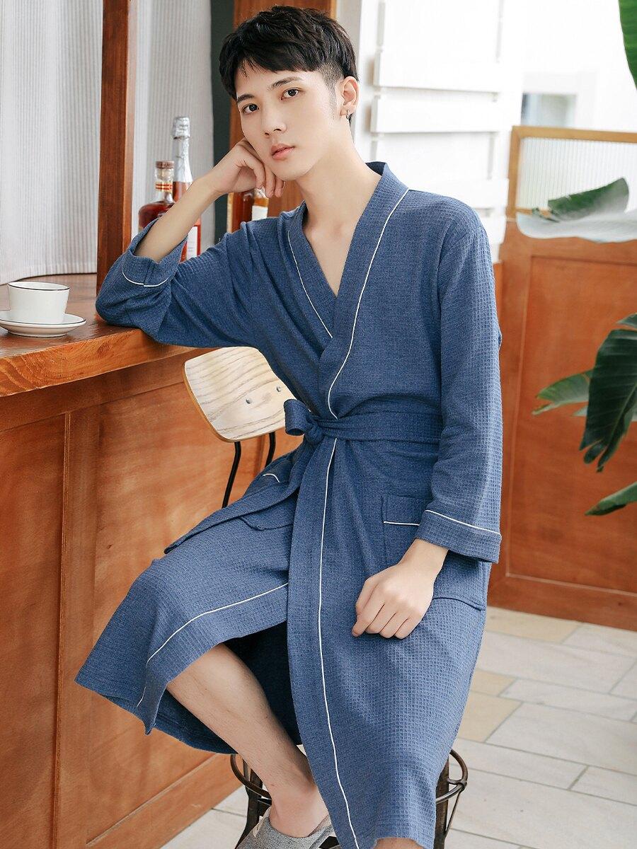 男士棉睡袍春夏季華夫格大碼浴袍男酒店四季薄款日式毛巾料浴衣  雙十一狂歡UPup➹