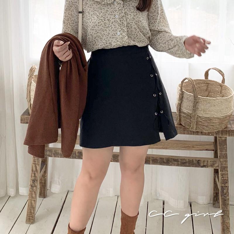 CC-GIRL 韓風造型交叉綁帶A字裙 - 適L~5L《 90487 》中大尺碼