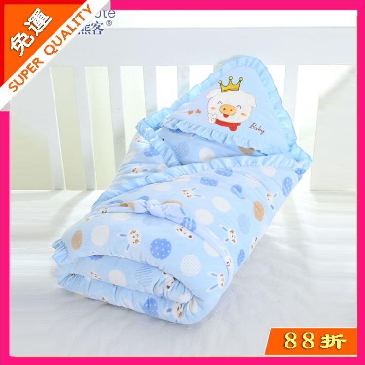 火爆夯貨-嬰兒抱被新生兒包被春秋冬季初生寶寶用品加厚保暖被子包巾可脫膽