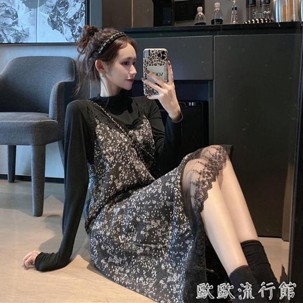 吊帶洋裝 法式復古連衣裙2021新款秋冬氣質蕾絲花邊碎花長裙顯瘦吊帶裙子女 歐歐