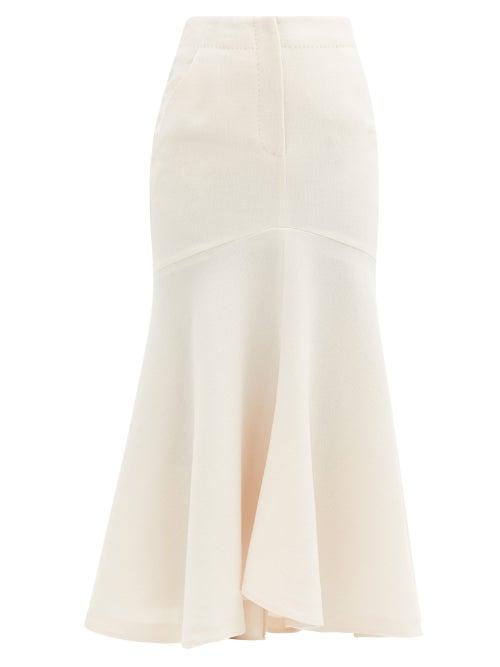 Petar Petrov - Ros Mermaid-hem Wool-jersey Skirt - Womens - Ivory