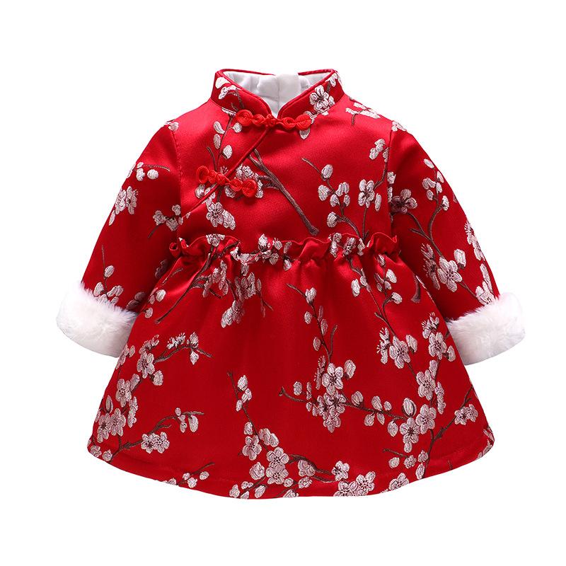 Vlinder童裝寶寶拜年服中國風兒童夾棉加絨連衣裙復古旗袍裙過年衣服
