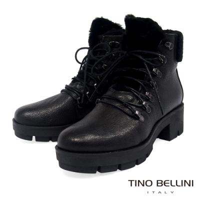 Tino Bellini 英姿暖心毛料綁帶厚底中跟靴_黑