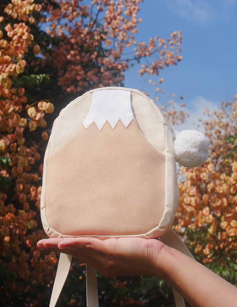 日本 幸運 奶茶色 富士山  森林系 迷你後背包