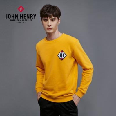 【JOHN HENRY】運動風立體毛巾刺繡長袖T恤-黃