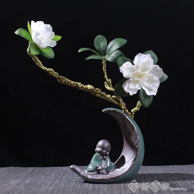 水培植物花器花盆禪意小和尚家居裝飾人物擺件陶瓷室內客廳博古架-遇見時尚家居