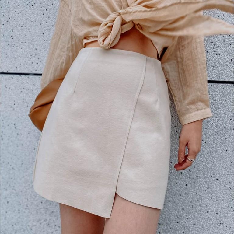 La Magic|磨毛感不對稱短裙
