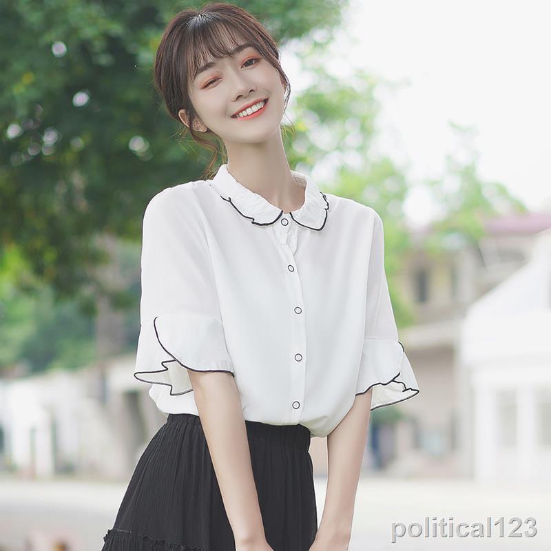 ↂ﹊☄現貨下殺 襯衫大碼 帛卡琪2020新款夏季雪紡衫白襯衣女學生木耳邊上衣娃娃領短袖襯衫