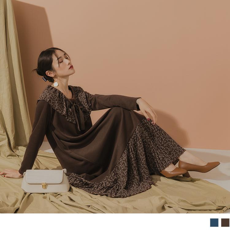 質感輕柔拼接壓褶印花荷葉片磨毛長洋裝