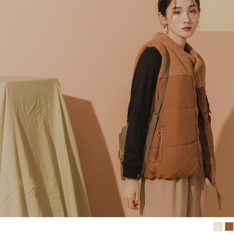 立領絨毛異材質鋪棉多拉鍊造型防潑水背心外套