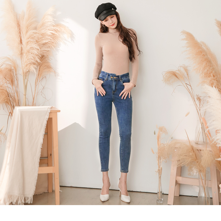 韓系彈力造型腰頭雙釦設計刷色窄管牛仔褲