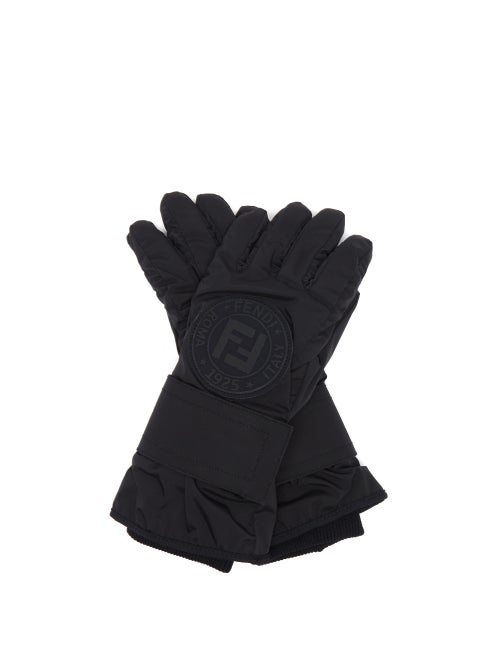 Fendi - Ff-logo Leather-panelled Ski Gloves - Womens - Black