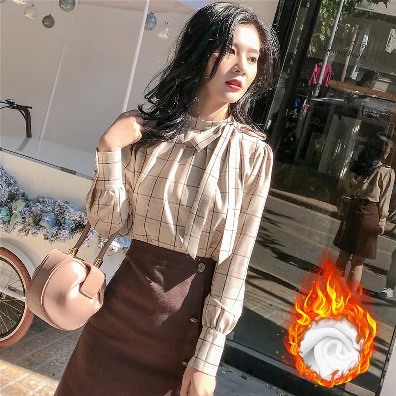 加絨加厚2020秋冬新款格子襯衫女長袖韓版襯衣百搭雪紡衫女