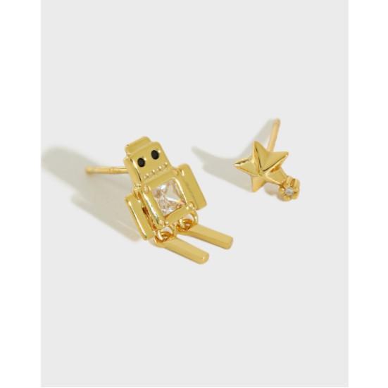 ●銀飾925%°韓版•『不對稱五角星機器人微鑲鋯石耳釘』『銀耳環』全店保證都是92.5%含量的純銀飾品✔.