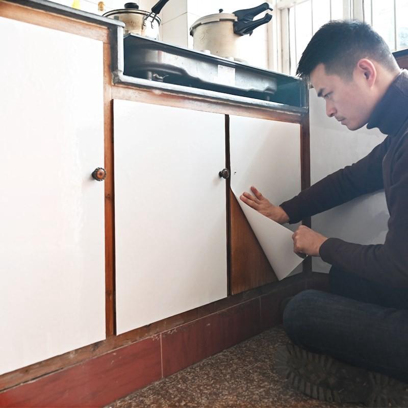 櫥柜烤漆貼紙家具翻新衣柜貼膜柜門珠光自粘廚房加厚防油防水墻貼
