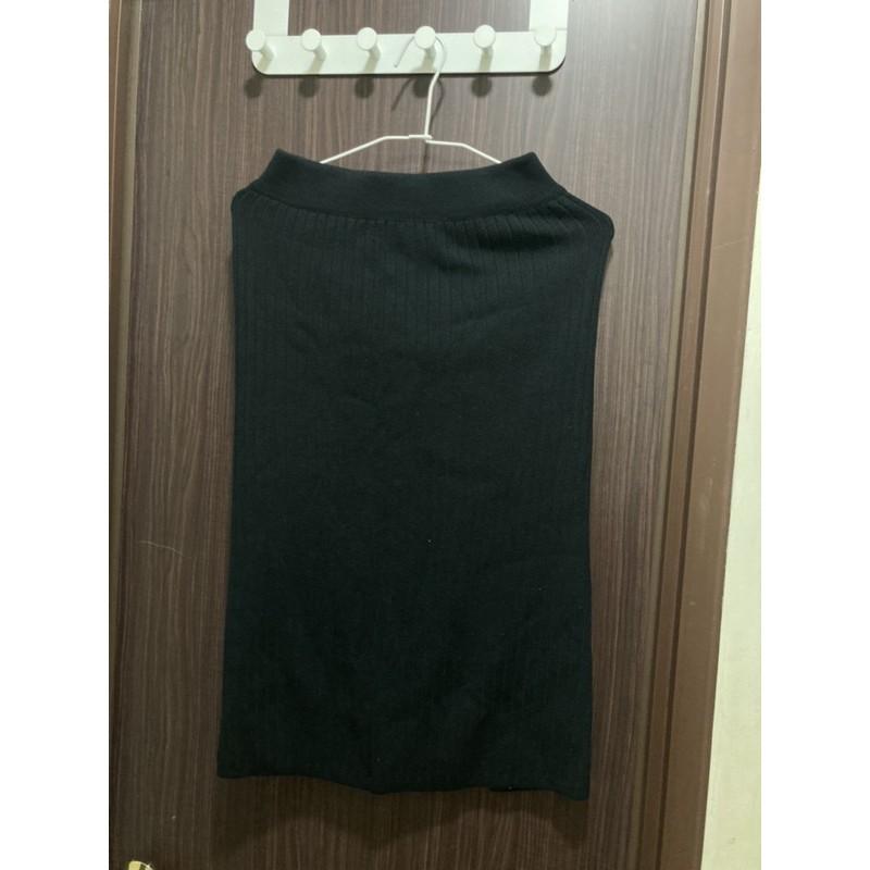 女生 針織 合身 黑裙