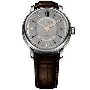 AEROWATCH 雅緻扭索時尚機械腕錶-銀/咖啡 A70930AA03