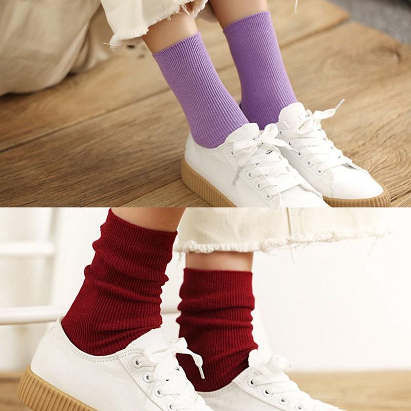 婦女純色梳子棉針織的女孩休閒襪子春天長襪子
